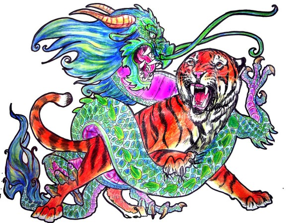 dragon vs  tiger by jupiterjenny 600x450 Tiger Mom Vs. Dragon Mom: New Ways to Talk Parenthood